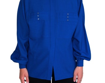 AKRIS Switzerland Vintage Royal Blue Shirt SIZE 34 Layered Pocket Dolman Sleeve