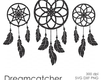 Dreamcatcher Feather plume (eps, svg, dxf, ai, jpg, png) Vector Digital ClipArt Wall Decor Decal Vinyl Cutting File Silhouette Cameo