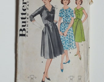Butterick 9304 Vintage Sewing Dress Pattern 1960's full circle skirt belt collar sleeves sleeveless buttons size 16 modern 10 - 12 bust 36