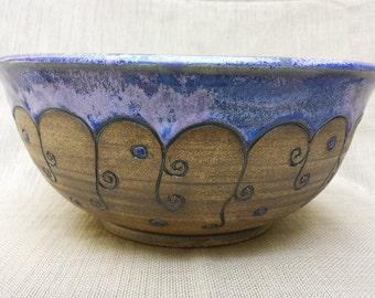 Large Bowl, Blue Bowl, Carved Bowl, Ceramic Bowl, handmade, serving bowl