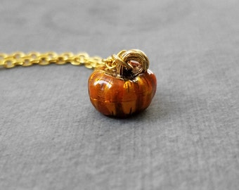 Pumpkin Necklace SMALL Orange Pumpkin Jewelry Pumpkin Pendant Necklace Enamel Charm Necklace Autumn Jewelry Fall Necklace Autumn Necklace