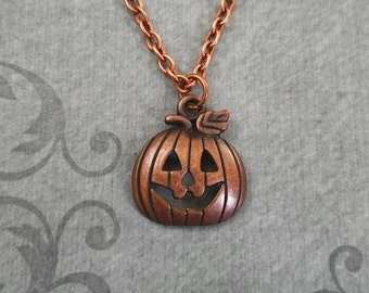 Jack-O-Lantern Necklace SMALL Jack O Lantern Necklace Pumpkin Necklace Pumpkin Jewelry Halloween Necklace Halloween Jewelry Charm Necklace