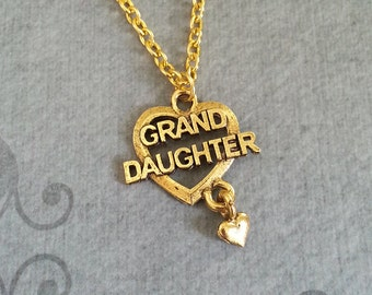 Granddaughter Necklace SMALL Grand Daughter Necklace Gold Granddaughter Heart Necklace Granddaughter Jewelry Grandma Necklace Heart Jewelry