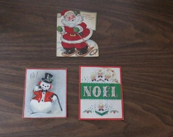 Vintage Christmas cards - used (set of 3)