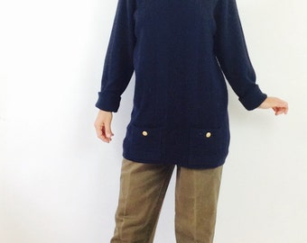 Ribbed wool sweater long navy sweater vintage wool sweater womens M sweater vintage navy blue sweater long wool sweater merino wool sweater