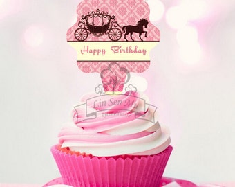 Set of 12 Happy Birthday Pink Carriage Cupcake Topper Picks Birthday Celebration
