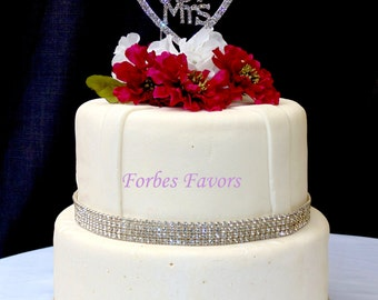 Mr & Mrs Inside a Rhinestone Heart Wedding Cake Topper