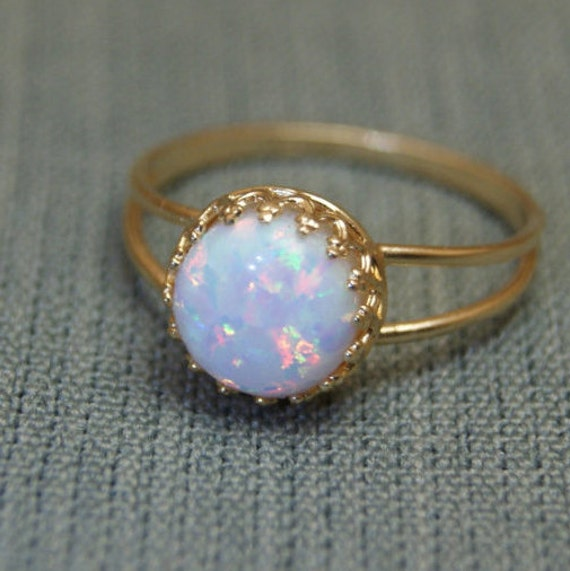White Opal ring Gold ring Opal ring opal engagement ring opal promise rin