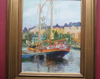 Oil Painting, Helsinki Harbor, The Astrid, Finland, Original, Impressionism