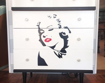 1950s Mid Century Modern Hand Painted MARILYN MONROE Black & White Dresser Chest