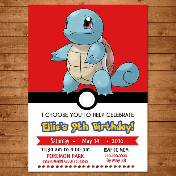 Pokemon Squirtle Invitation - Pokemon Squirtle Invite -- Pokemon Squirtle Birthday - Pokemon Squirtle Party Favors - Pokemon Go Party