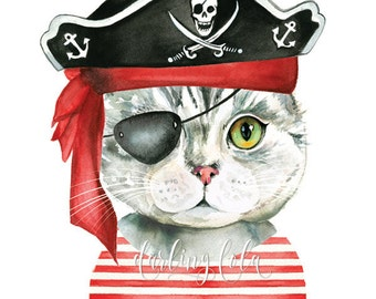 Cat Watercolor Print - Pirate Cat - Cat Art - Illustration - Gray Tabby Cat - Animal Art  - Nursery Art - Wall Art - Cat Painting