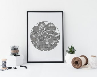 Clustered Circles Drawing Print