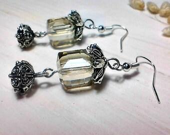 Romantic dangle earrings, Wedding earrings, Wedding jewelry, Gift for her, Crystal jewelry, Filigree jewelry, Bridesmaid jewelry