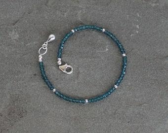 Apatite Bracelet, Apatite Gemstone Bracelet, Beaded Apatite Jewelry, Beaded Blue Stone Bracelet, Sterling Silver