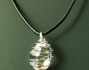 Spiral Pendant Necklace Holds a Quality Herkimer Diamond. A generous sized, raw, water clear quartz crystal measures 22.5x16 mm/ 22 ct. !