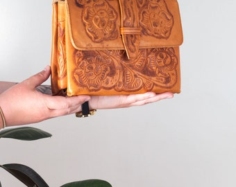Tooled Leather Clutch with Floral Design