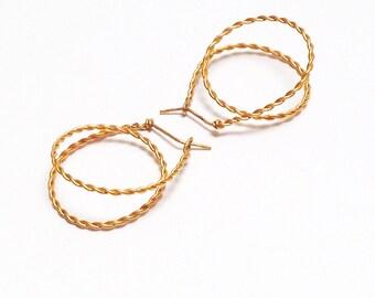 Hoop earrings. Gold plated brass. Geometric Jewelry. Modern Minimalist. Fine Jewelry. Free Delivery