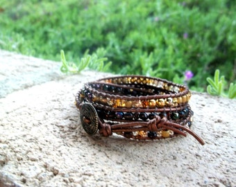 Leather Wrap Bracelet Triple Wrap in golds, brass, copper, crystals and metallic blues and greens