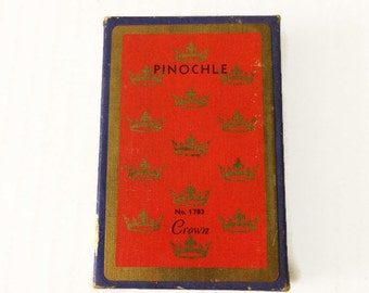 Vintage Red & Gold Crown Pinochle Playing Cards Full Deck with Box