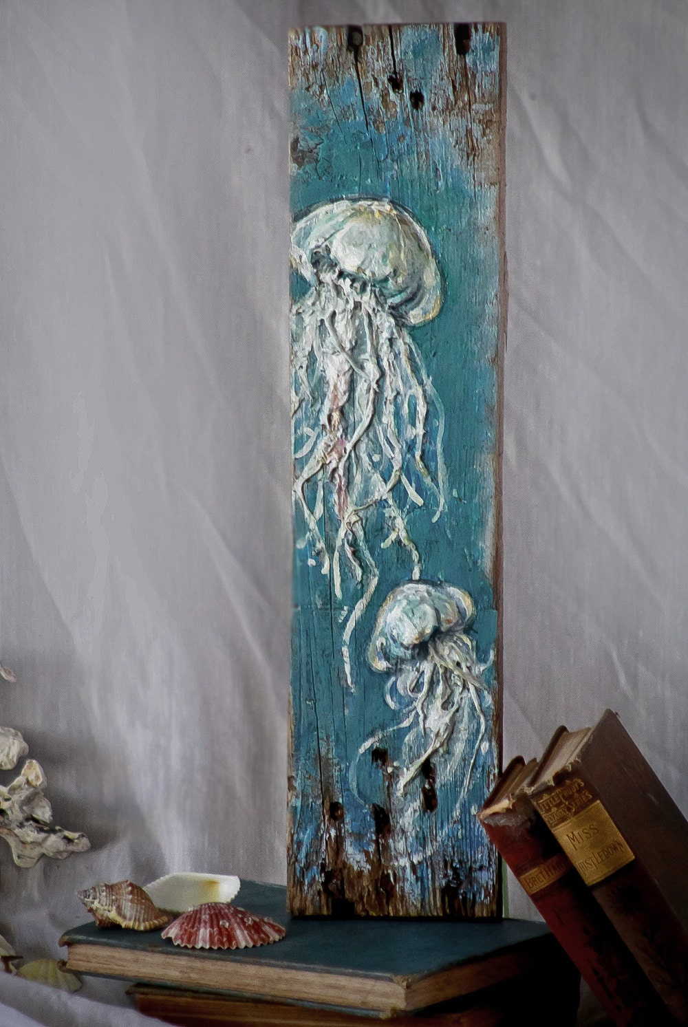 Beautiful Handmade Jellyfish Painting 3d Wall Sculpture Art By