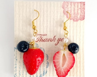 Strawberry & Blueberry Pearl Dangle Drop Earrings
