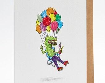 Birthday card, funny birthday card, boyfriend birthday card, brother card, 'Ballooning Croc', handmade, hand drawn, congratulations card