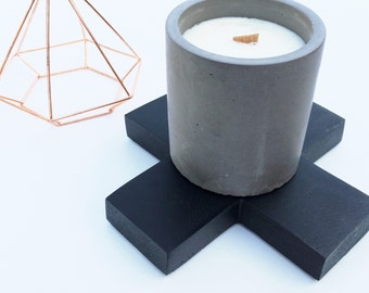 Concrete Vessel Candle - Wooden Wick