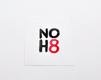 NO H8 Rubber Stamp, Hand Carved Stamp