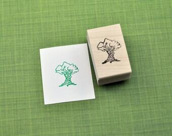 Storybook Tree Rubber Stamp, Hand Carved Stamp