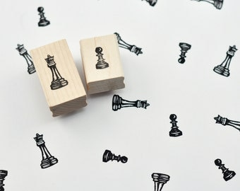 Queen and Pawn Chess Stamp Set, Hand Carved Stamps