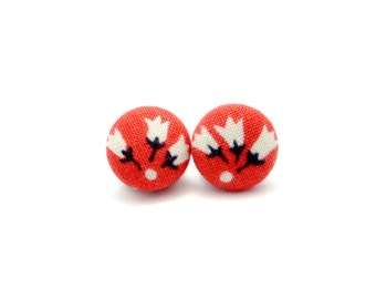 Coral flower fabric button earrings - tulip button earrings - flower button earrings - coral earrings - coral flower studs - floral studs