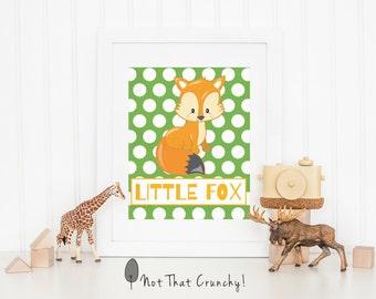 Fox Nursery Wall Art - Little Fox Nursery Art Print  - Little Fox Baby Shower Gift - Baby Boy Nursery Decor