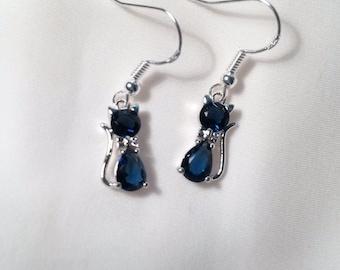 Cat Earrings - Crystal Cat Earrings - Sapphire Blue Crystal Cat Earrings - Sterling Silver Hooks
