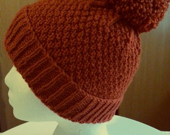 Autumn Orange Pom Pom Hat