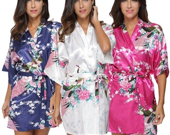 Satin Robes Set of 3 - Bridesmaids Floral Robe - Bridesmaids Gift - Bridesmaids Satin Robe