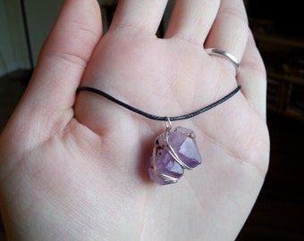Wire Wrapped Wrap Raw Amethyst Cluster Necklace