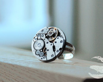 Steam punk ring. Steampunk Jewelry. Watch ring. The rectangular ring with a clockwork mechanism. A gift for her. Silver. Dimensionless