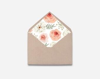DIY Envelope Liner, Flower, Printable Envelope (467)