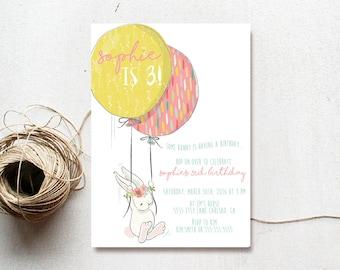 Bunny Birthday Invitation Girl, Balloon, Boho, Flowers, Printable Invite (707)