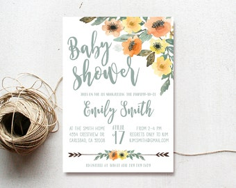 Baby Shower Invitation, Gender Neutral, Arrow, Watercolor, Flower, Gender Neutral, Printable Invitation (718)