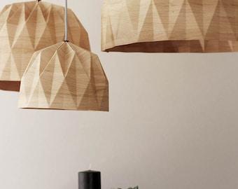 XL Origami Lamp, XL Wood Print Hanging Lampshade, Wood Print Paper Lampshade