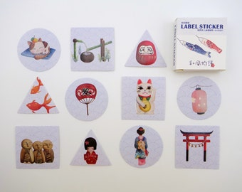 40 Japanese sticker flakes - lucky cat  maneki neko - daruma & kokeshi dolls - kimono geisha - fans - lanterns - koi - sakura flower - sushi