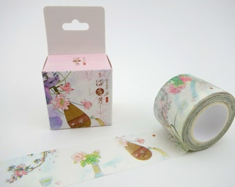 Beautiful WIDE Chinese culture & flowers 10m washi tape in box - lotus flower - sakura cherry blossom - green tea - fan - musical instrument