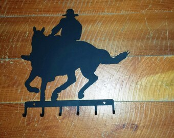 Metal Cowboy on Horse Silhouette Cut Out With Six Key Hooks Wall Hanging-CLEARANCE