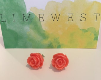 Sparkly Orange Rose Stud Earrings // Beautiful gift for any occasion