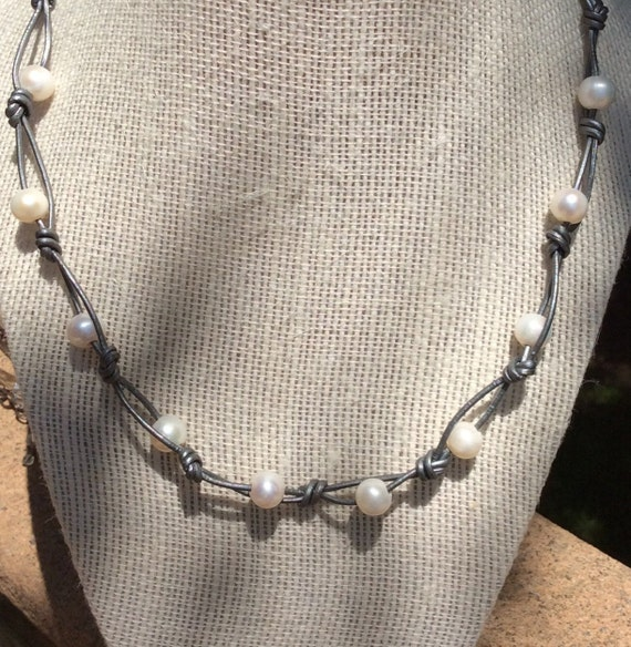 LEATHER AND PEARLS with Sterling Silver Clasp and Extender