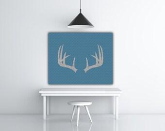 Silver Glitter Deer Antler Print, Blue Print Art, Deer Antler Art, Silver Prints, Deer Antler Decor, Silver Antler Wall Art, Deer Print
