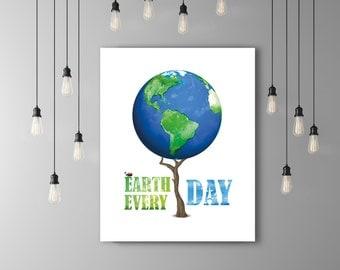 Earth Day Environment Globe Print, Environmental Art Blue Green Art, Nature Poster, Ladybug Wall Art Tree Poster, Ladybird, Ladybug Decor