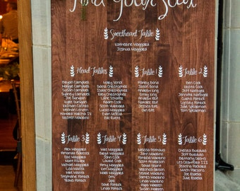 Solid Wood Wedding Seating Chart Sign Custom Stained Pine 24 x 48""